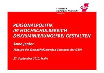 personalpolitik im hochschulbereich diskriminierungsfrei ... - GEW