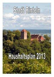 2. Der Haushaltsplan 2013 - Stadt Rinteln