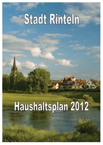 Haushaltsplan Der Stadt Rinteln Für Das Haushaltsjahr 2012
