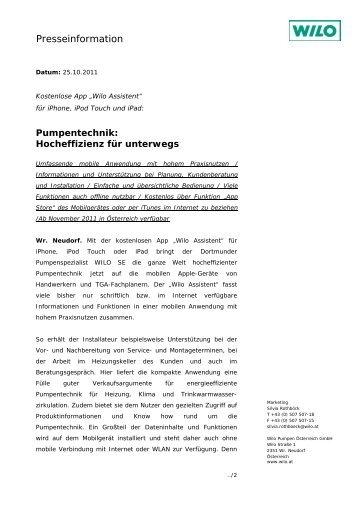 Pumpentechnik: Hocheffizienz für unterwegs - Wilo