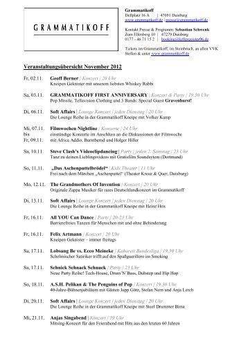 Monatsübersicht November - Grammatikoff