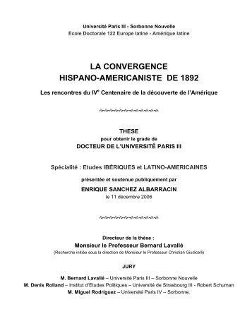 La Convergence Hispano-américaniste de 1892 - TEL