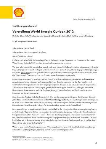 Vorstellung World Energie Outlook 2012 - Shell in Deutschland