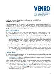 VENRO-Stellungnahme Abschlusserklärung Rio+20