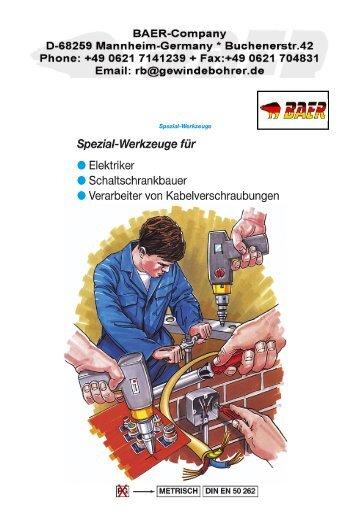 Spezial-Werkzeuge - Kabelverschraubung - Gewindebohrer ...