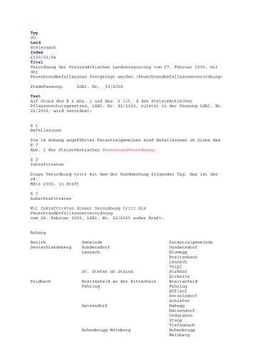 Typ VO Land Steiermark Index 6130/03/04 Titel Verordnung der ...