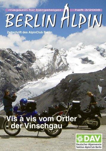Vis à vis vom Ortler - der Vinschgau - AlpinClub Berlin