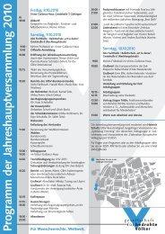 Programm der Jahreshauptversammlung 2010
