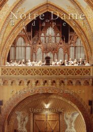 Notre Dame de Budapest Pipe Organ Samples Users' Manual