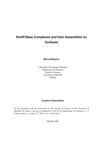 Schiff Base Complexes and their Assemblies on Surfaces - Doria