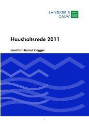 Haushaltsrede 2011 - Landkreis Calw