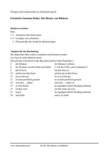 Friedrich Christian Delius: Die Birnen von Ribbeck - deutschkurse.ch