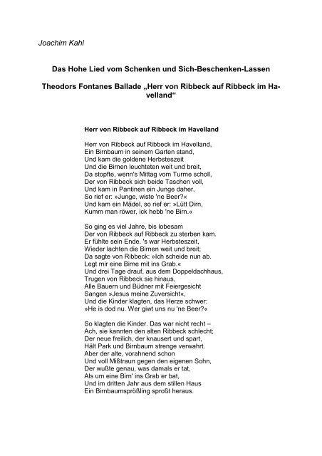 herr von ribbeck auf ribbeck im havelland gedicht