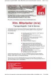 Kfm. Mitarbeiter (m/w) - GEL Express Logistik