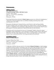 Program notes - Healdsburg Jazz Festival