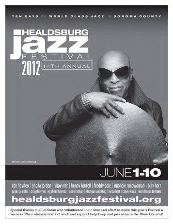 Appreciations, Committees and Donations - Healdsburg Jazz Festival