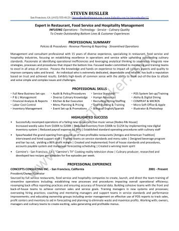 Restaurant Consultant Resume Sample   Career Thinker  Consultant Resume Sample