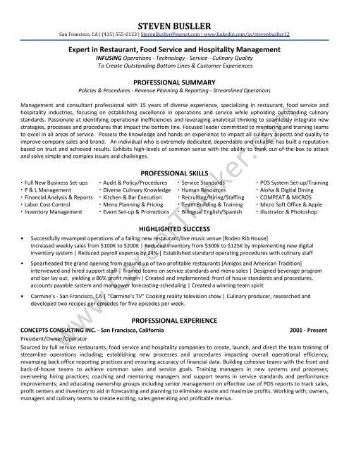 restaurant consultant resume sample