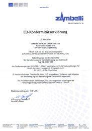 EU-Konformitätserklärung - Zambelli GmbH & Co. KG