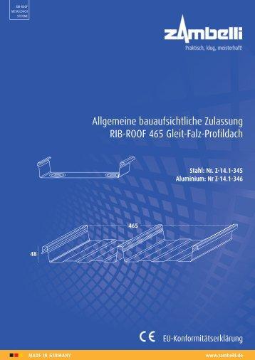 Allgemeine bauaufsichtliche Zulassung RIB-ROOF 465 Gleit-Falz ...
