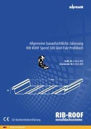 Allgemeine bauaufsichtliche Zulassung RIB-ROOF Speed 500 Gleit ...