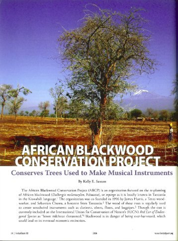 Conserves Trees Used to - African Blackwood Conservation Project