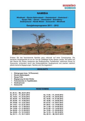 Detailprogamm Namibia - Reisewelt