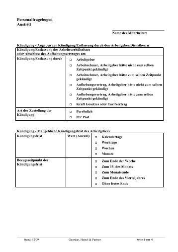 Personalfragebogen Austritt