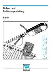 Einbau- und Bedienungsanleitung Rator - Rademacher