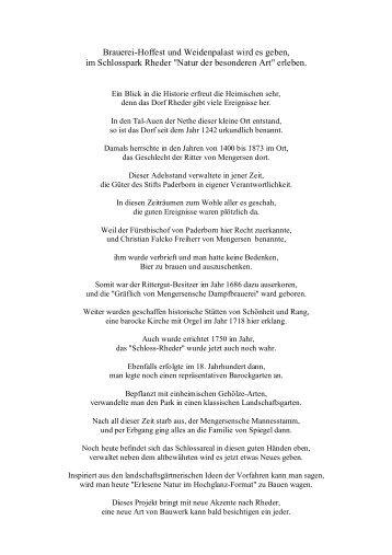 Gedicht zur Einweihung des Weidenpalais in Rheder am
