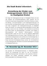 Bekanntmachungen vom 22. November 2012 - Stadt Brakel