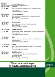 Winterveranstaltungen 2013 Westfalen und Rheinland - Syngenta