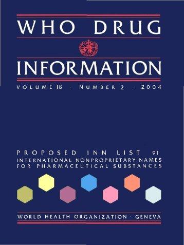 WHO Drug Information Vol. 18, No. 2, 2004 - World Health ...