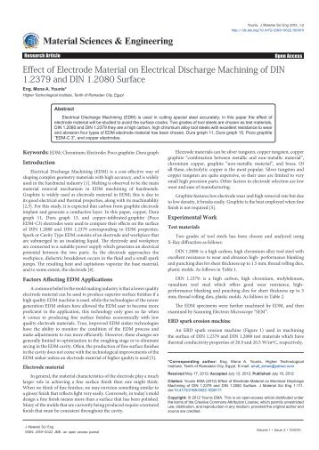 Effect of Electrode Material on Electrical Discharge Machining of DIN ...