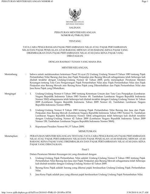 Peraturan Menteri Keuangan Nomor 65 Catatan Perpajakan
