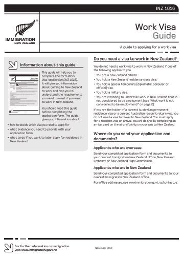 Work Visa Guide (INZ 1016) - Immigration New Zealand