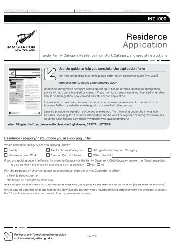 Residence Application (INZ 1000) - Immigration New Zealand