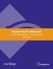 Supervisor's Manual for the ReadiStep™ Assessment - College Board