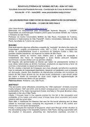 REVISTA ELETRÔ NICA DE TURISMO (RETUR) - ISSN 1677-3063 ...