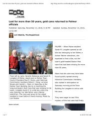 Lost for more than 50 years, gold cane returned to Palmer officials