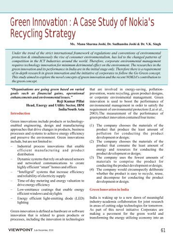 Green Innovation : A Case Study of Nokia's Recycling Strategy