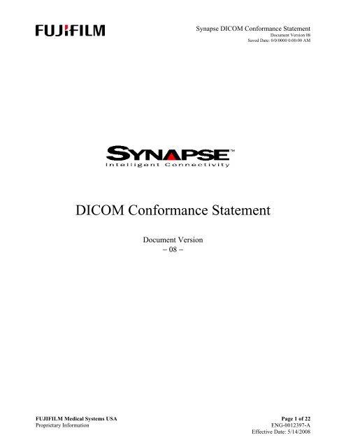 DICOM Conformance Statement - Medical Systems