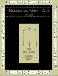 2007 Mulligans Menu - Murrysville Golf Club