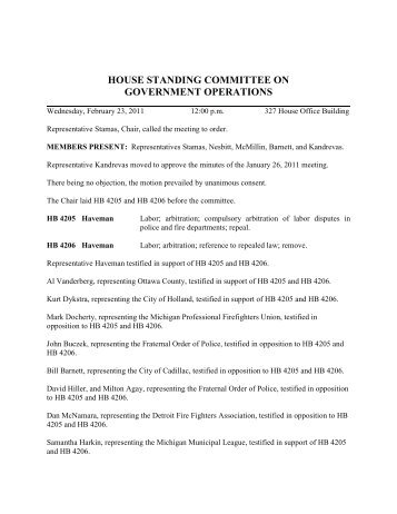 house standing committee on government operations - Michigan ...