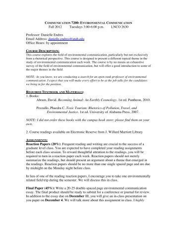 Fall 2012 Tuesdays 3:00-6:00 pm - humis.utah.edu - University of Utah