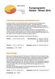 Kursprogramm Herbst - Winter 2010 - wellnett.at