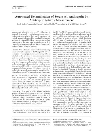 Automated Determination of Serum 1-Antitrypsin ... - Clinical Chemistry