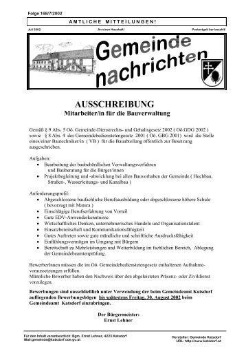 AUSSCHREIBUNG Mitarbeiter/in für die Bauverwaltung - Katsdorf