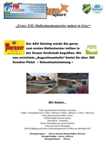 """""""Erstes XXL Hallenbandenturnier mitten in Graz"""" Wir bieten… - StFV"""