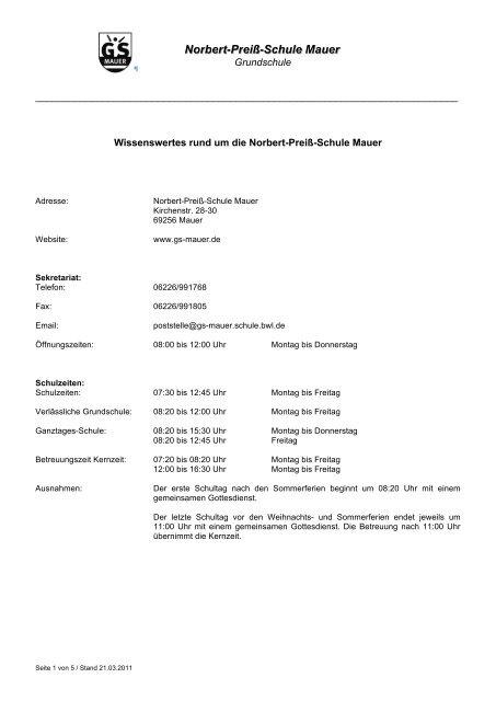 Wissenswertes Rund um die Norbert-Preiß Schule - Gemeinde Mauer
